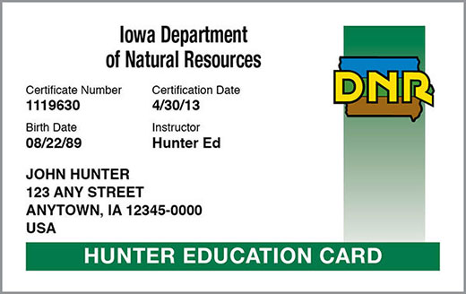 Iowa hunting education certificate