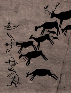 Pictograph of primitive bowhunters