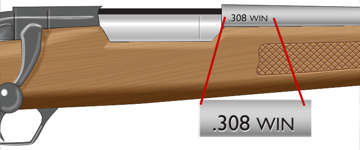 The barrel stamp of a rifle is stamped toward the rear of the barrel.