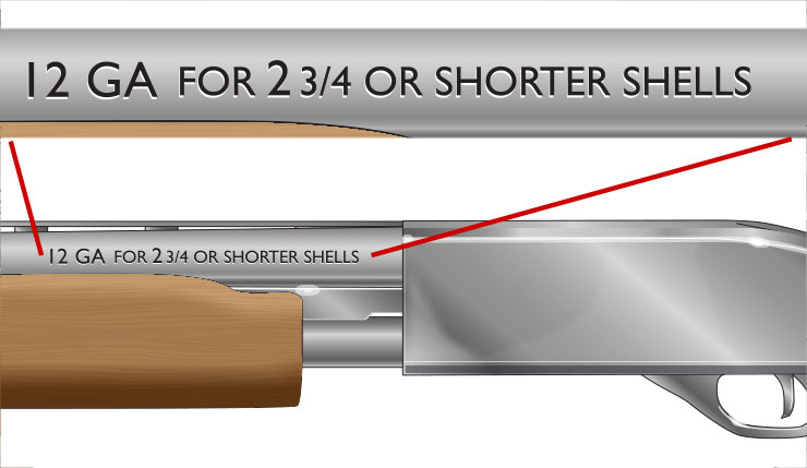 The rear of the shotgun barrel is marked with the gauge and the length of the chamber.