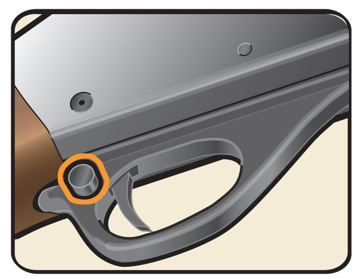 Cross-bolt trigger safety on the trigger guard of a pump-action shotgun