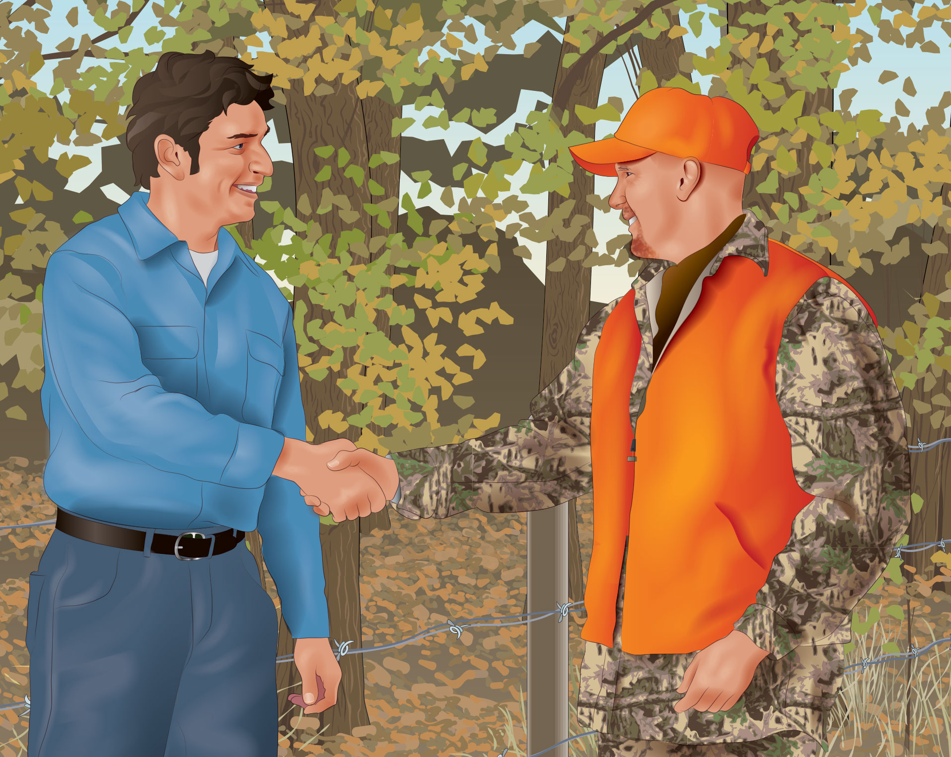 A hunter in blaze orange and a non-hunter in street clothes shaking hands