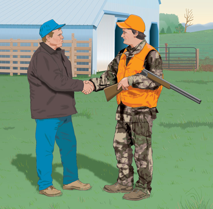 Hunter meeting with a  landowner