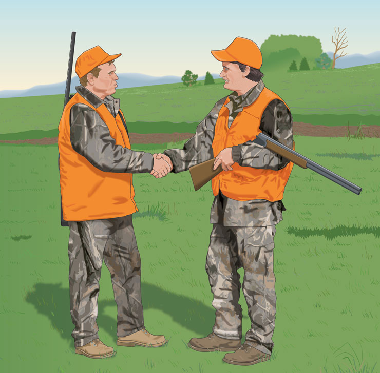 Two hunters shaking hands