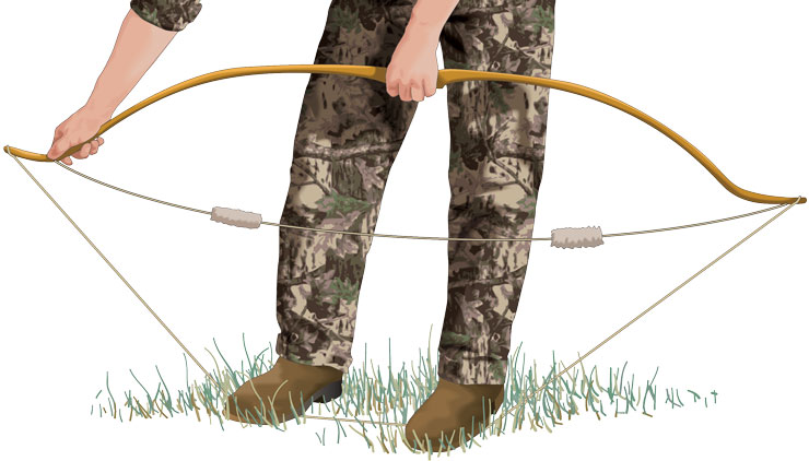 Hunter using bowstringer to string bow