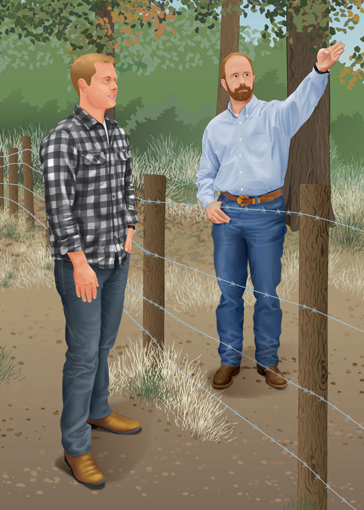 Man talking to a landowner