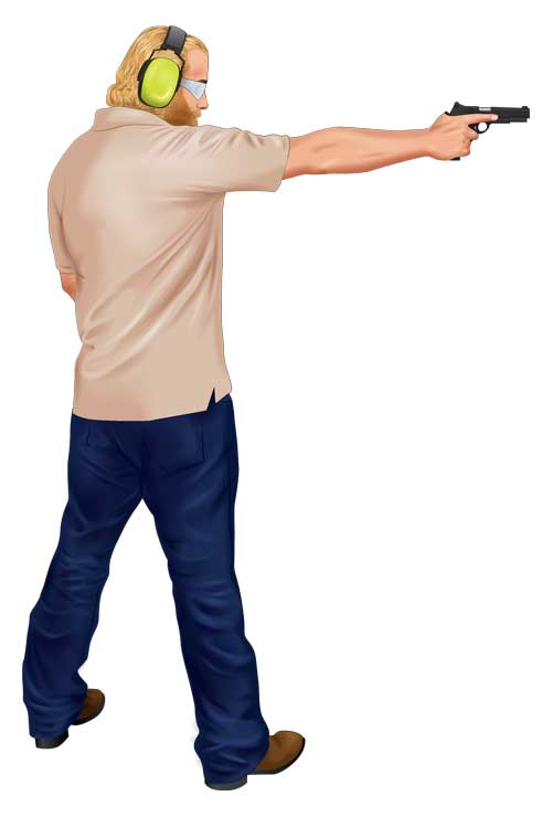A person demonstrates the one-handed grip body position.