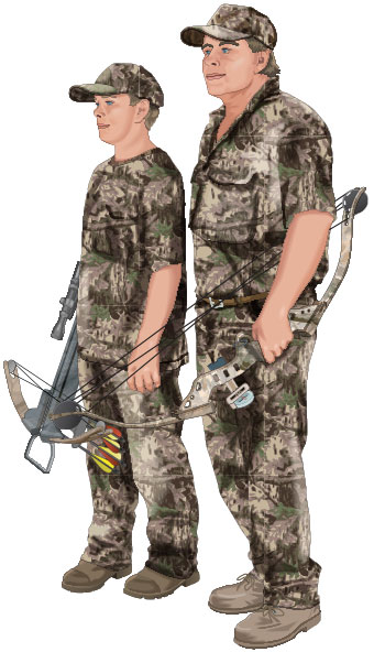 Father and son bowhunters