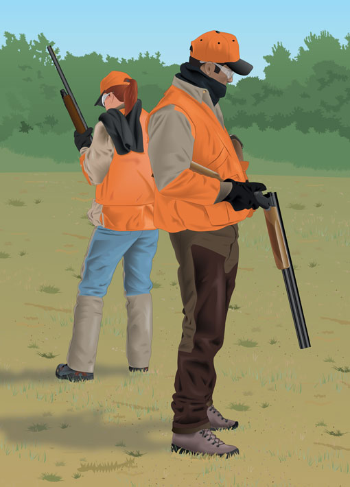 Two hunters facing away from each other and safely loading their firearms