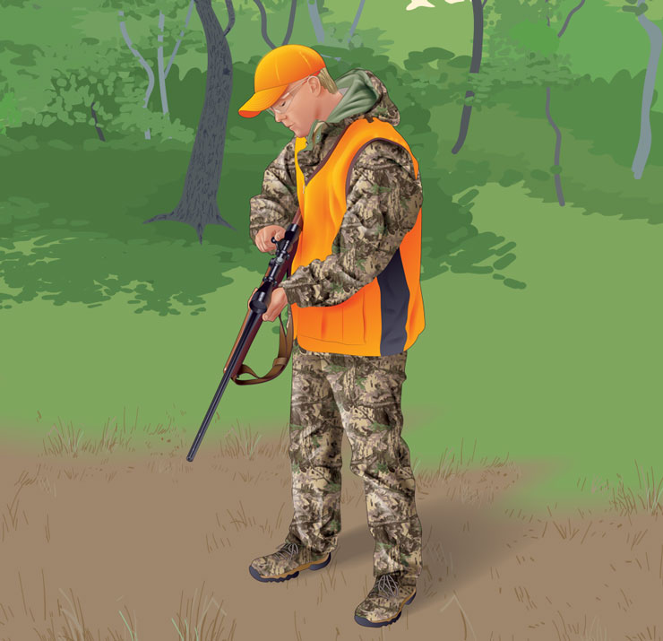 Hunter checking his firearm