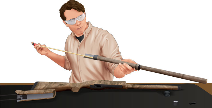 Man cleaning his rifle