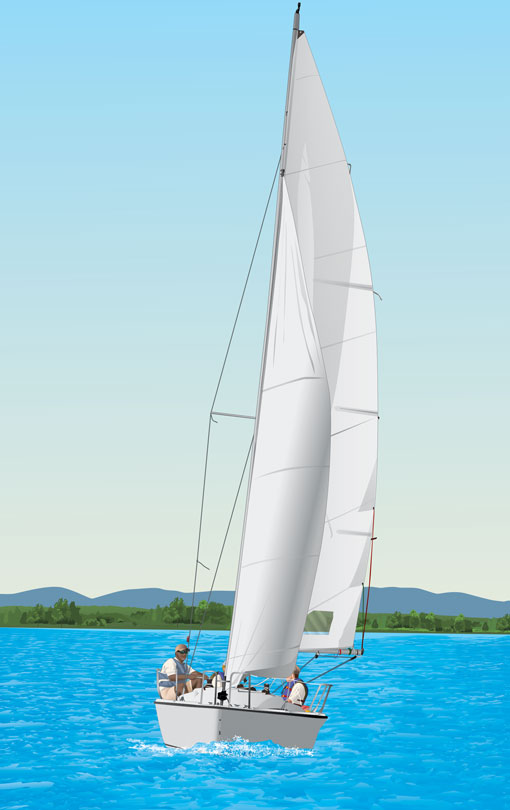 Displacement hull sailboat