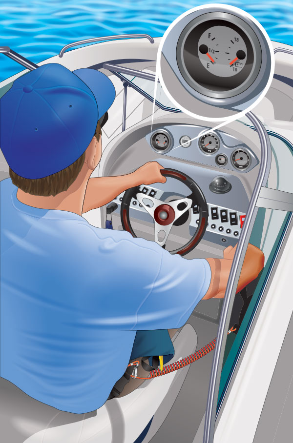 Boater operating a boat; inset shows fuel gauge