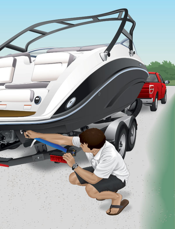 Boater checking a boat trailer