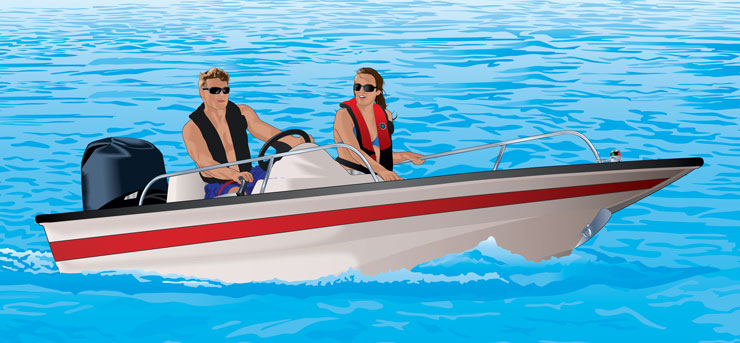 Couple riding boat in open water