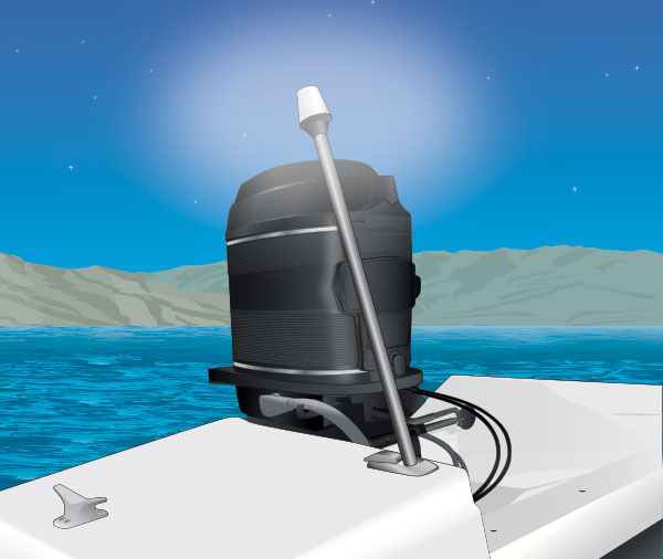 A boat stern light