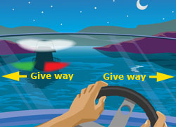 Navigation rule if you see a red light, a green light and a white light