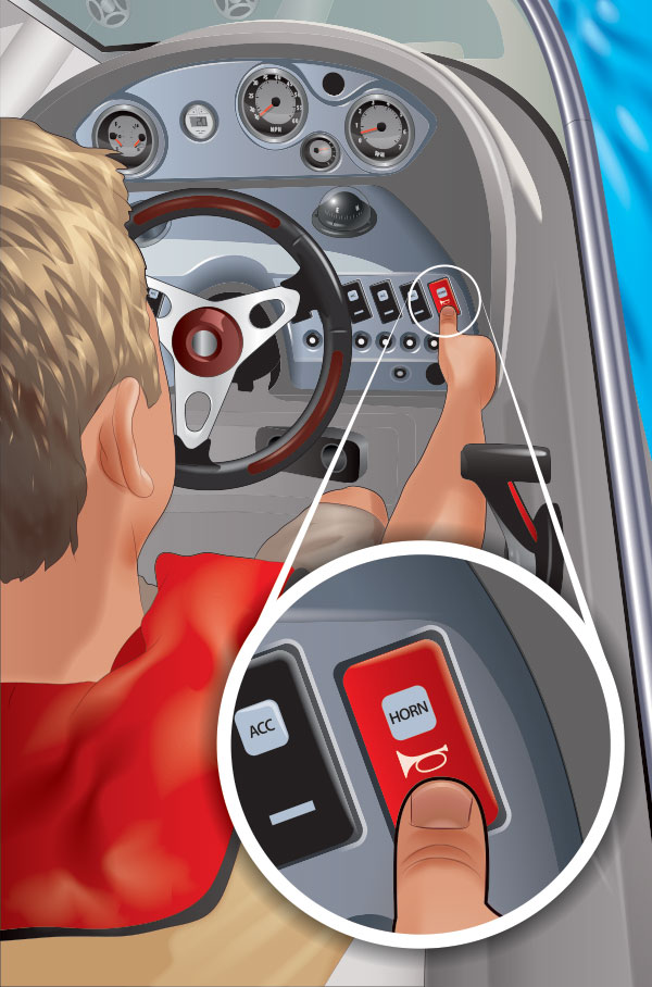Boater pressing the horn indicator on the boat; inset shows horn and acceleration indicators