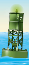 Lighted Buoy - green