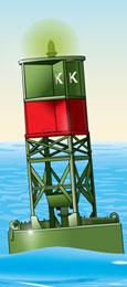 Lighted buoy—green and red