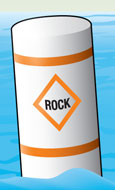 Regulatory marker—danger (rocks)