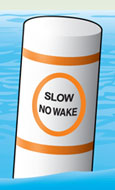 Regulatory marker—controlled area (slow, no wake speed)