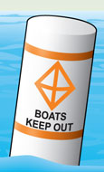 Regulatory marker—exclusion area (boats keep out)