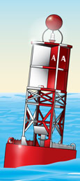 Safe water marker—lighted buoy