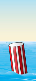 Safe water markers—red and white stripes