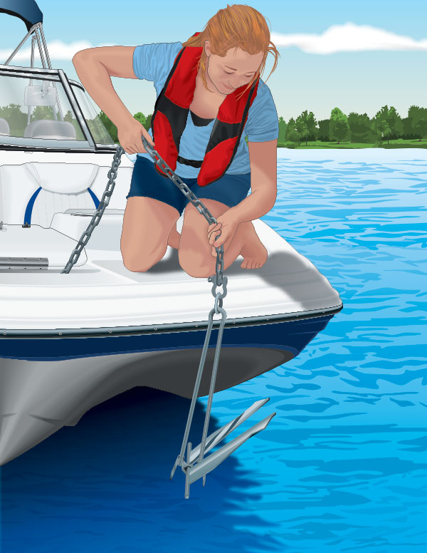 Boater raising an anchor