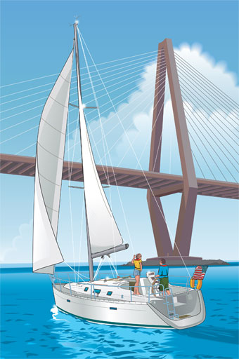 Sailboat approaching bridge