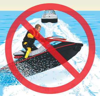 PWC jumping wake of a boat; prohibited sign on the image