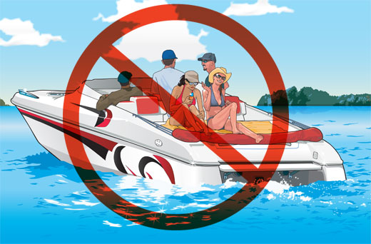 Prohibited sign on a boat carrying passengers riding on the stern
