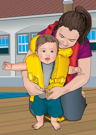 Parent putting PFD (life jacket) on small child