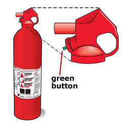 Fire extinguisher charge indicator: Button style