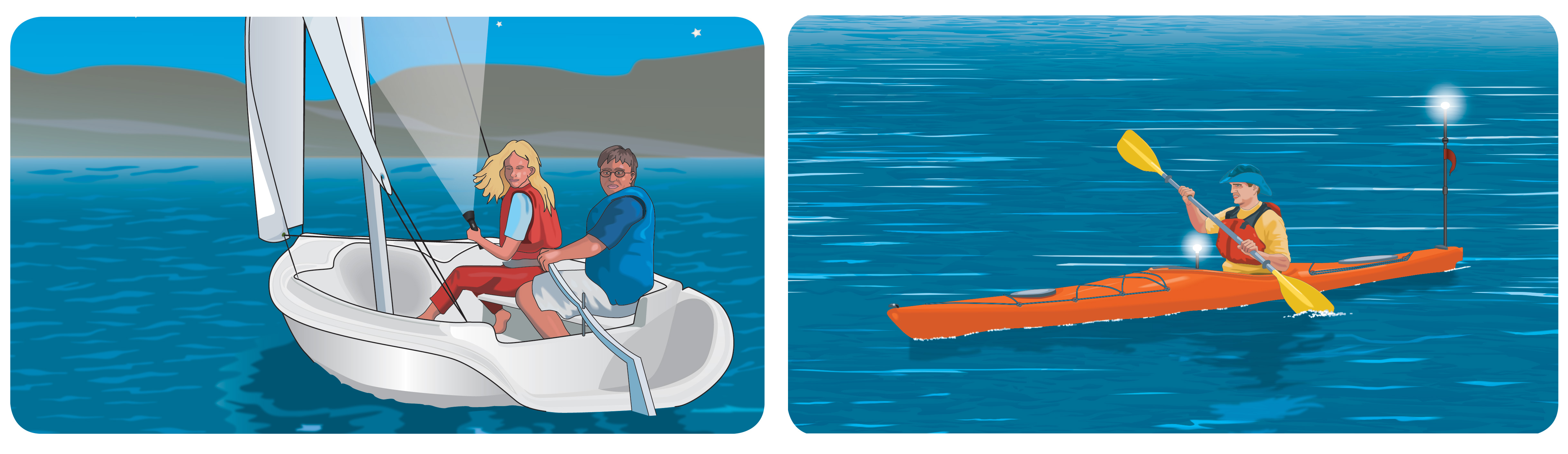 Figure 3: Navigation lights on unpowered vessels (left: couple on sailboat; right: person in kayak)