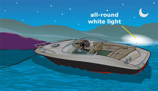 All-round white light visible for two miles on an anchored boat