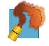 Pyrotechnic VDS: orange smoke floating