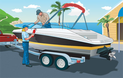Boaters performing safety check