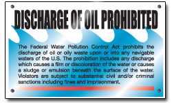 Oil Discharge Prohibited placard