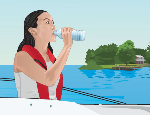 Boater staying hydrated by drinking water