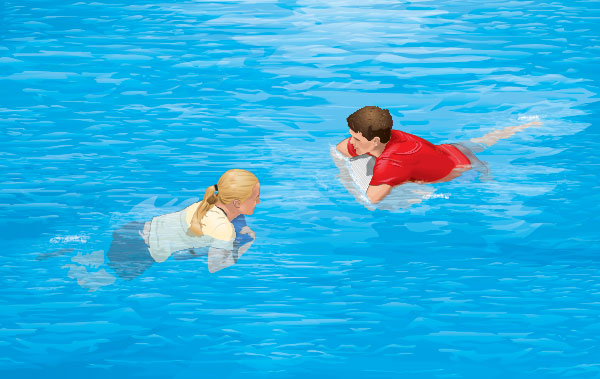 Two people in water holding onto floating items to stay afloat