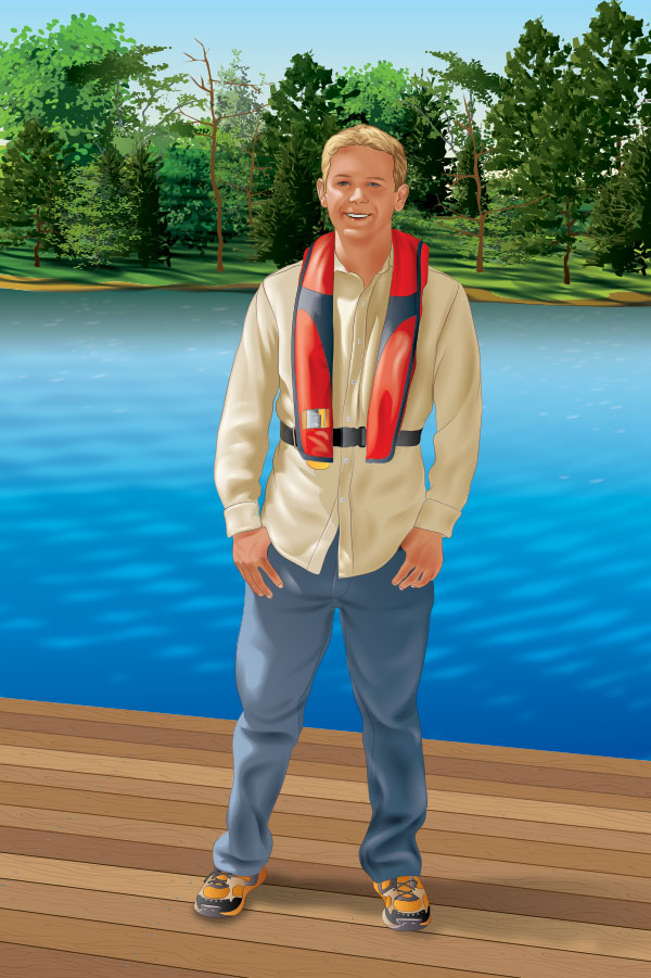 Boater in a PFD standing on the deck