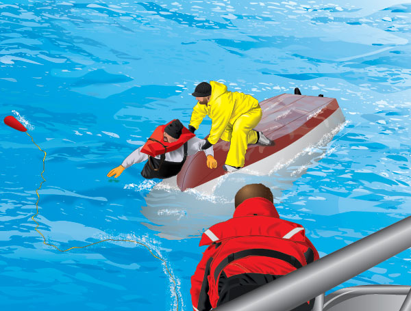 People trying to rescue a person from a capsized boat