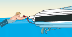 Carbon monoxide poisoning—person teak surfing behind a boat