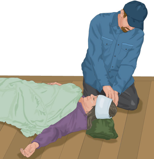 Person treating shock victim