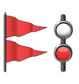 Weather warning signal for gales—two red triangular flags and two red lights