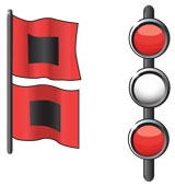 Weather warning signal for hurricanes—black squares in the middle of two red flags and two red lights with a white light in between