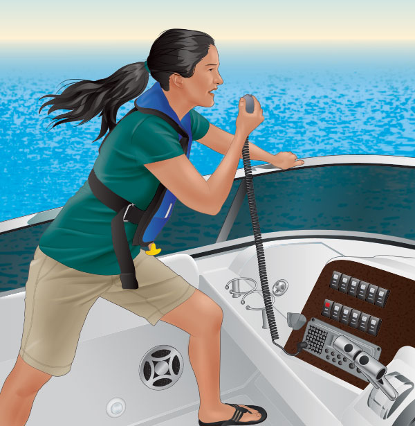 Boater issuing a mayday call on a VHF radio