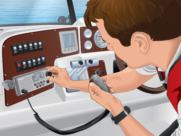 Boater dialing a VHF radio